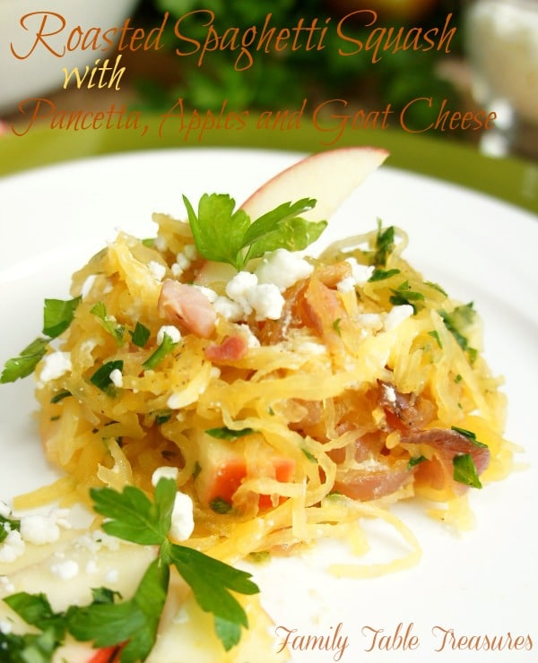 Roasted Spaghetti Squash {with Pancetta, Apples and Goat Cheese}