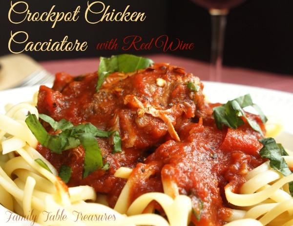 Crockpot Chicken Cacciatore {with Red Wine}