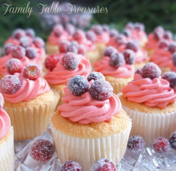 Angel Food Cupcakes {with Cranberry Whip}