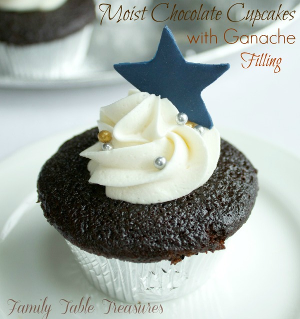 Moist Chocolate Cupcakes {with Ganache Filling}