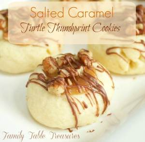 Salted Caramel Turtle Thumbprint Cookies