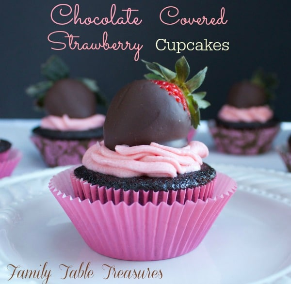 Cupcake with a chocolate covered strawberry on top