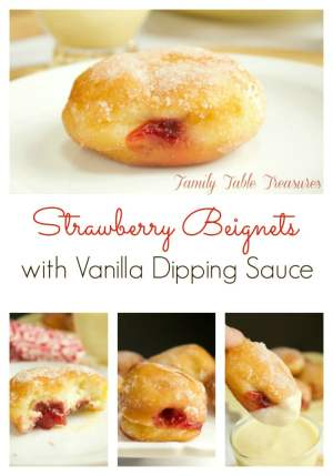 Strawberry Beignets {with Vanilla Dipping Sauce}