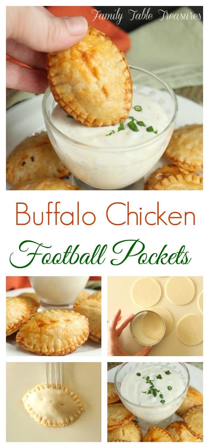 Buffalo Chicken Football Pockets