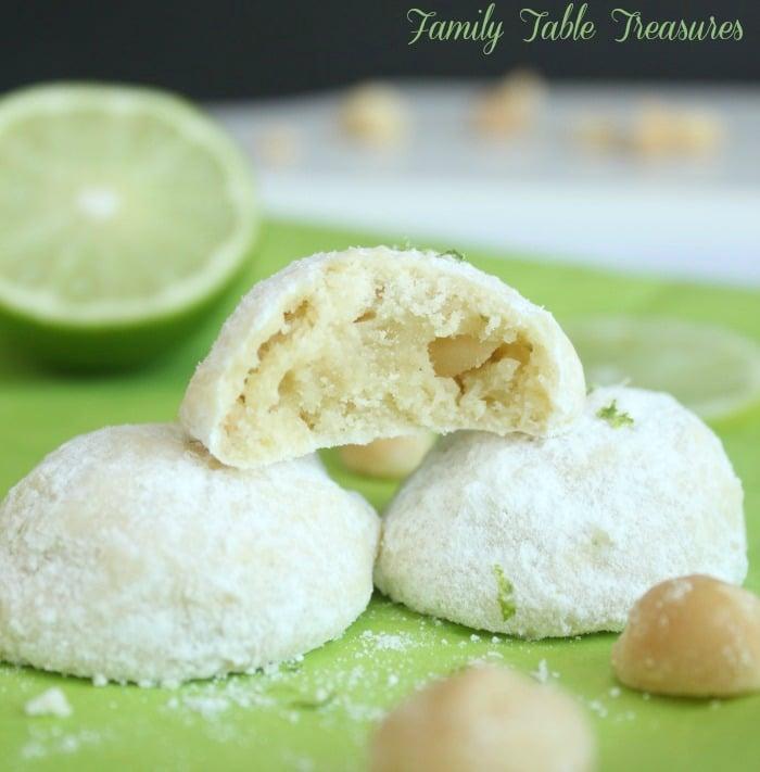 Lime Macadamia Nut Snowball Cookies