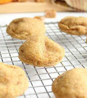 Baked Pumpkin Snickerdoodles on a cooling rack