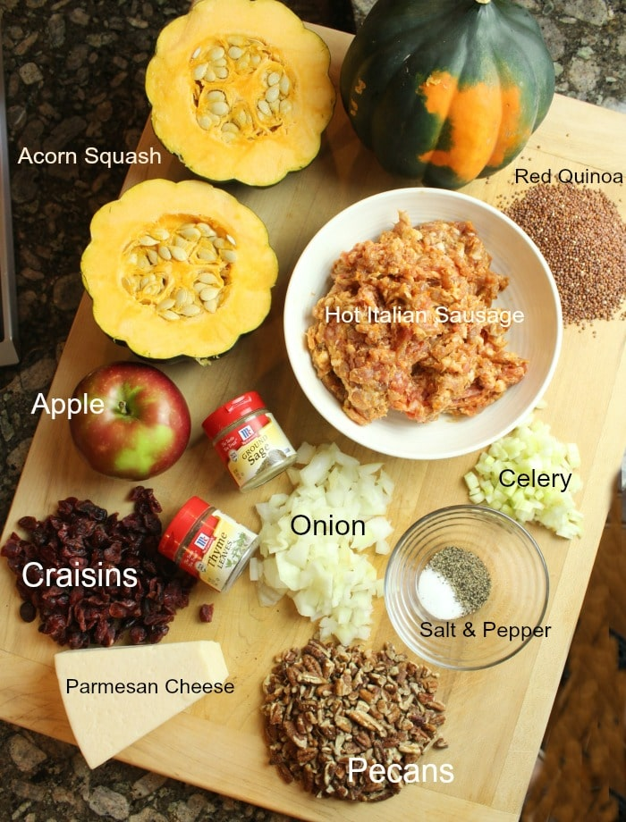 Ingredients for stuffing on a cutting board with labels for each ingredient.