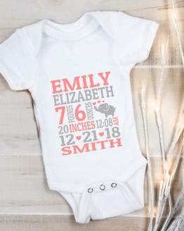 Babygrow Custom Printed Birth Announcement White