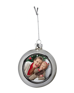 Christmas Bauble Silver Custom Printed
