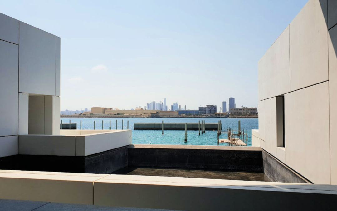 View from the Louvre back to the main city of Abu Dhabi