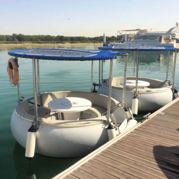 Eco donut boats are a fun way to see the Eastern Mangroves National Park in Abu Dhabi