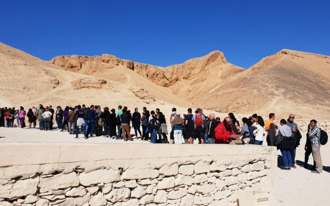 Queuing to see inside the tombs at Valley of the Kings Luxor Egypt