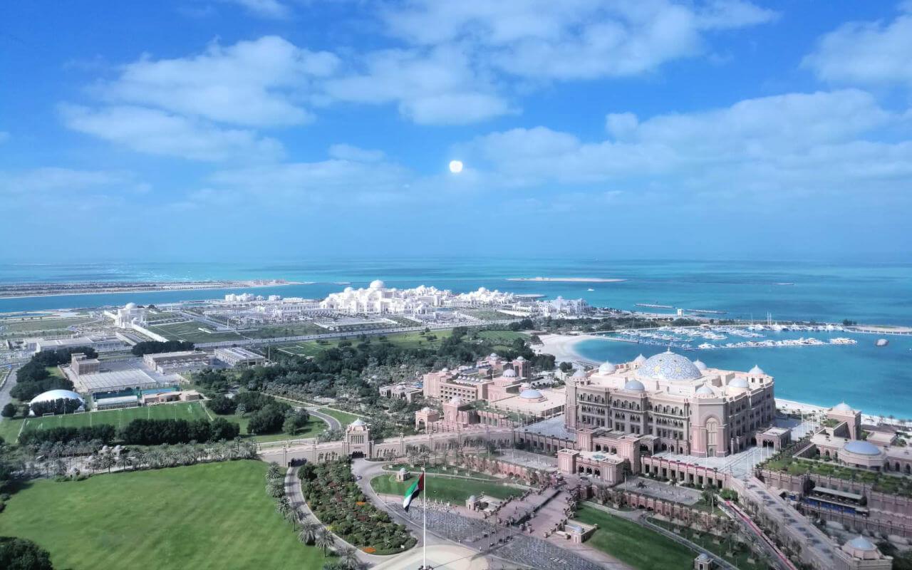 aeriel view of Qasr al Watan the new presidential palace complex in Abu Dhabi