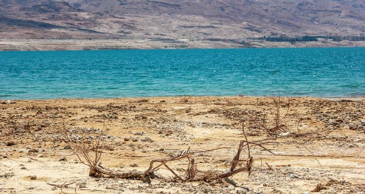The recceding shore lin of Jordan Dead Sea