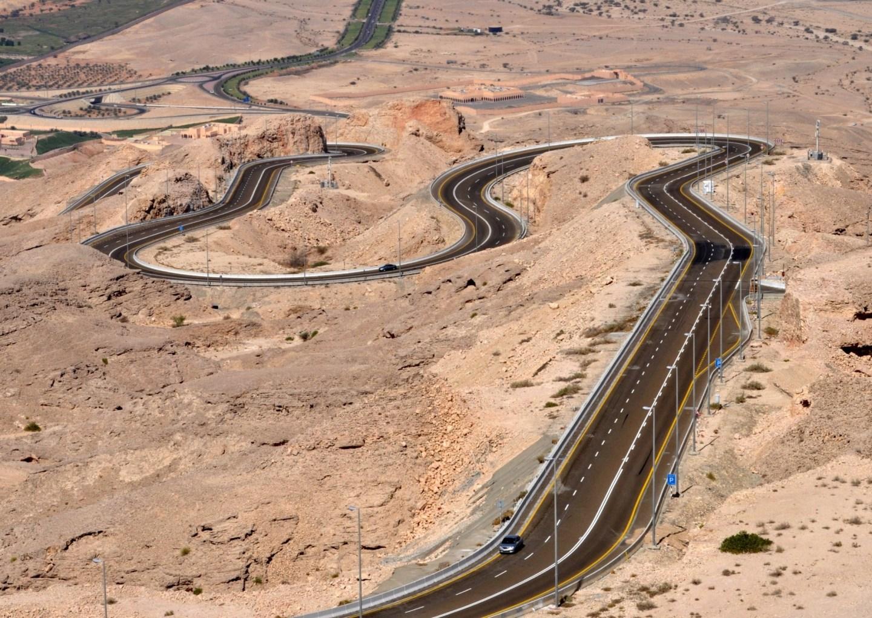 The winding road up Jebel Hafeet in Al Ain, Abu Dhabi