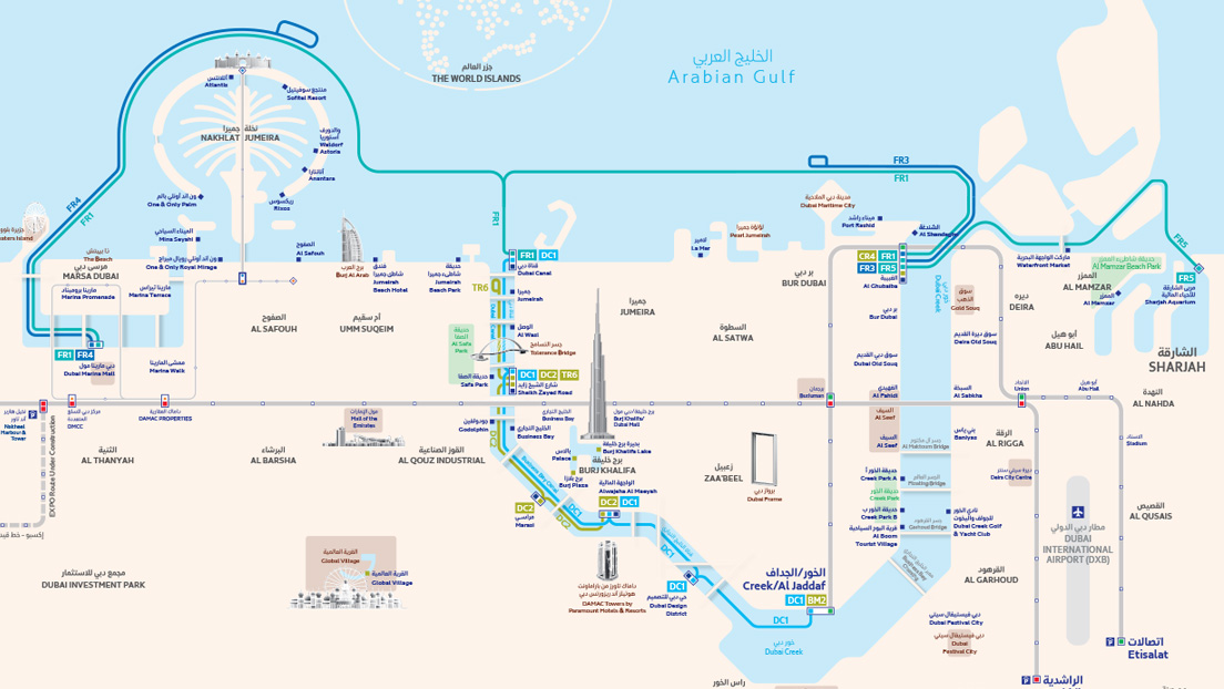 Dubai Ferry Route Map