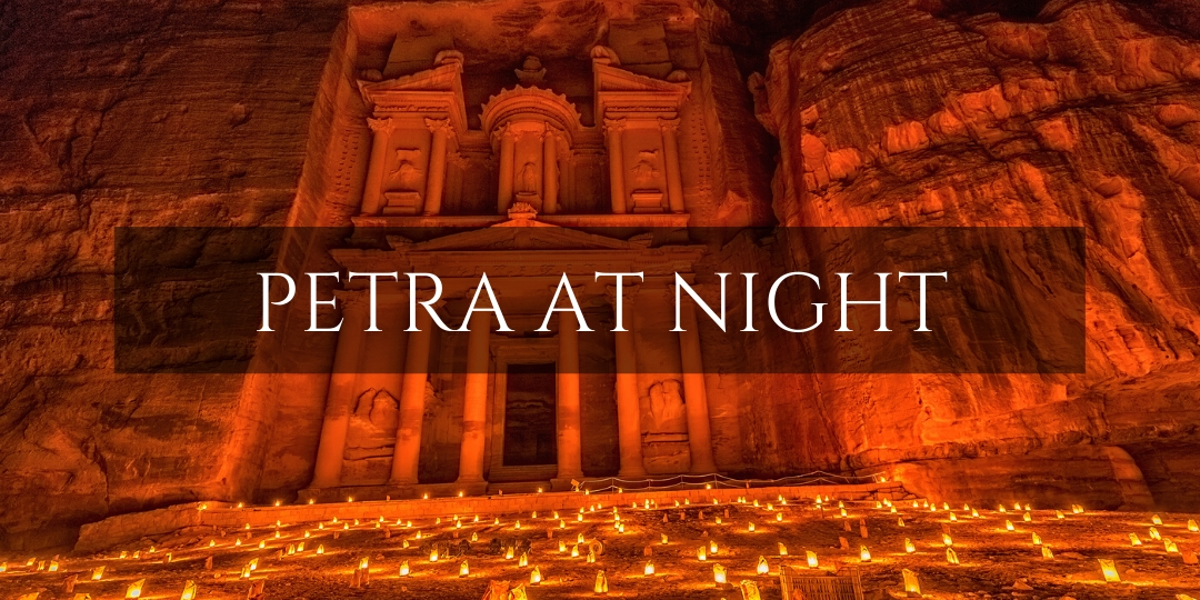Petra at Night. Candlelit Treasury Building inside the lost city of Petra