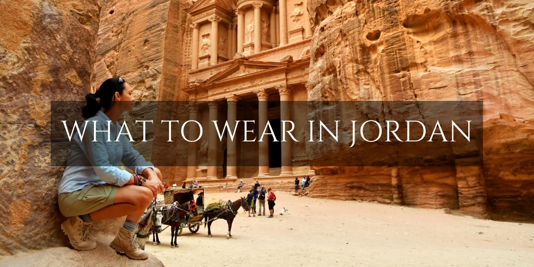 Women wearing appropriate female clothing in front of Petra Treasury, Jordan