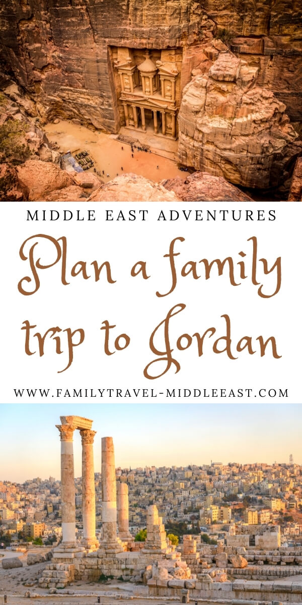 Plan a family trip to Jordan featuring the Petra treasury and the citadel in amman