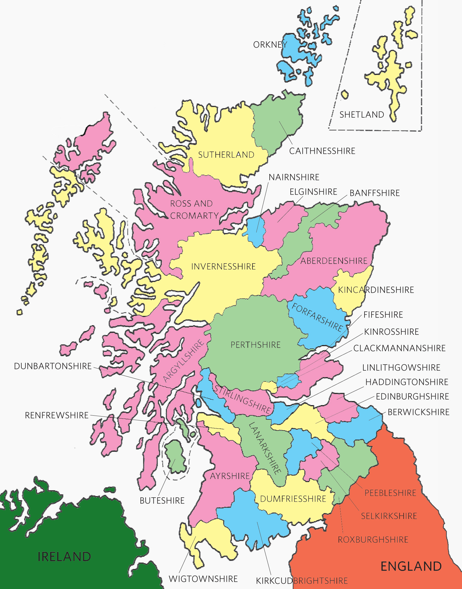 A Map Of Historical Scottish Counties
