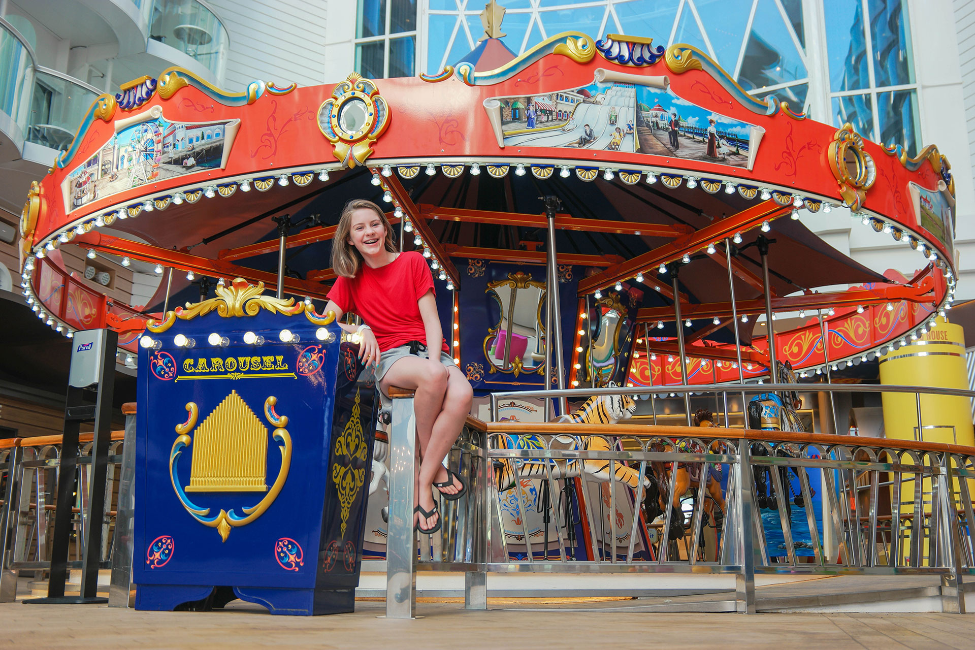 Teen Girl in Front of Carousel on Royal Caribbean's Symphony of the Seas; Courtesy of Jeff Bogle