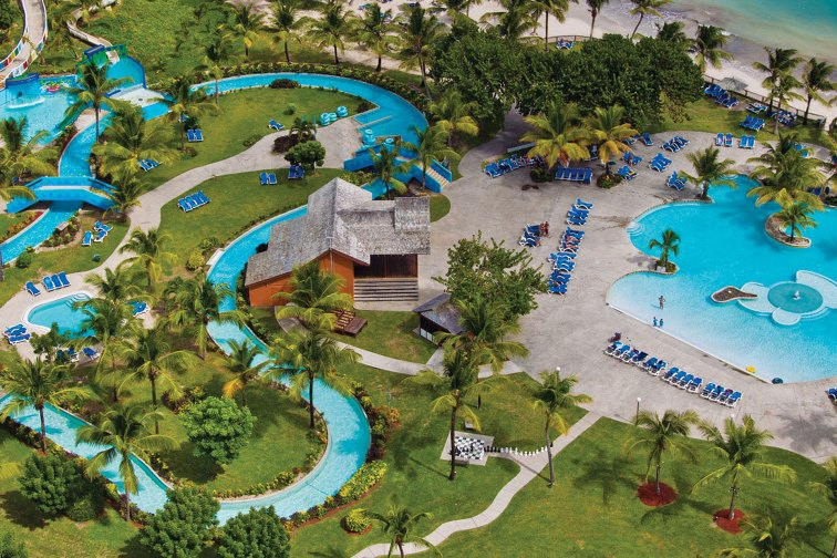 Aerial View of Water Park at Coconut Bay Beach Resort & Spa in St. Lucia; Courtesy of Coconut Bay Beach Resort & Spa