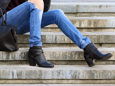mom wearing booties autumn steps; Courtesy of atdigit /Shutterstock
