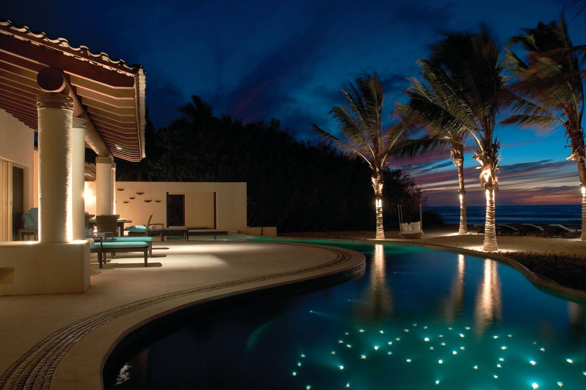 Luxury Villa at Night at the Four Seasons Resort Punta Mita; Courtesy of Four Seasons Resort Punta Mita