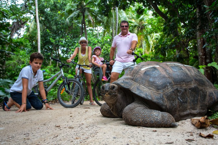 Family with Tortoise on Jacada Travel's Africa Skip-Gen Itinerary