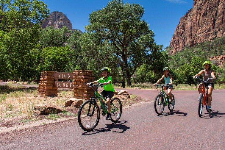 Kids Biking at Zion Lodge; Courtesy of Zion Lodge