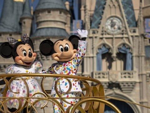 Mickey and Minnie at the Magic Kingdom in Disney World; Courtesy of Disney