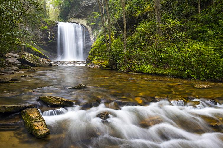 Looking Glass Falls North Carolina Blue Ridge Parkway Waterfalls near Brevard in Western NC Appalachian Mountains; Courtesy of Dave Allen Photography/Shutterstock