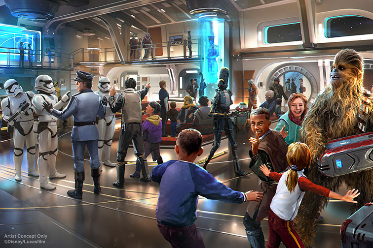 Rendering of Star Wars: Galactic Starcruiser at Disney