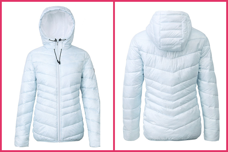 Rokka&Rolla Women's Lightweight Water Resistant Hooded Quilted Poly Padded Puffer Jacket; Courtesy of Amazon