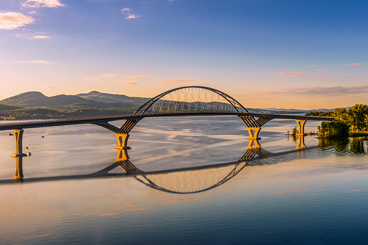 Champlain Bridge across Lake Champlain connecting New York and Vermont; Courtesy of jgorzynik/shutterstock