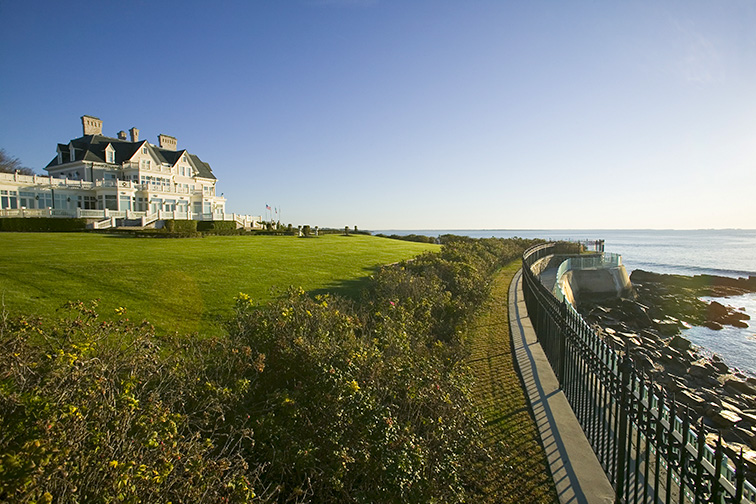 Summer mansion on the Cliff Walk, Cliffside Mansions of Newport Rhode Island; Courtesy of Joseph Sohm/Shutterstock