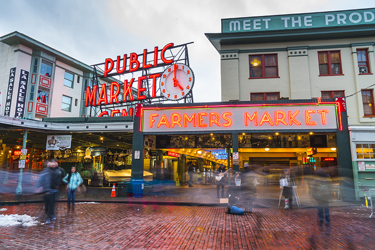 Seattle pike place market; Courtesy of Checubus /Shutterstock