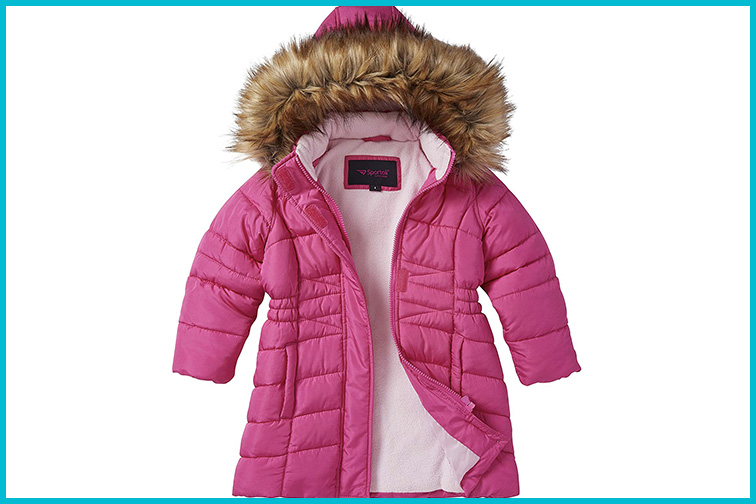 Sportoli Girls' Mid-length Quilted Fleece Lined Winter Coat; Courtesy of Amazon
