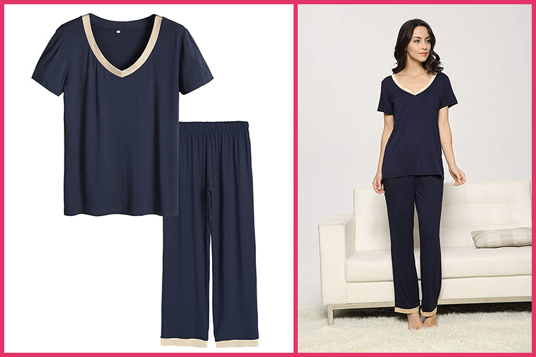 Latuza Women's V-Neck Sleepwear – Short Sleeves Top with Pants Pajama Set; Courtesy of Amazon