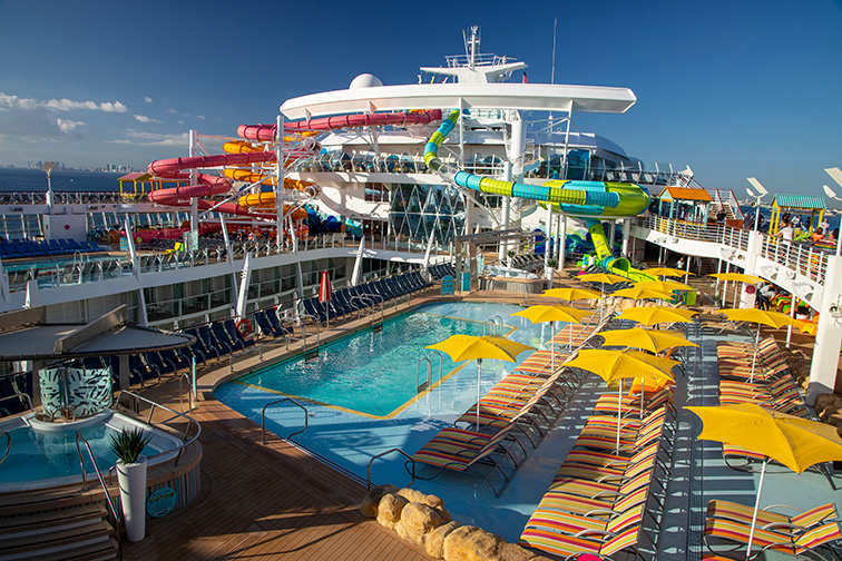 The reimagined, Caribbean pool deck on board Oasis of the Seas; Courtesy of Royal Caribbean