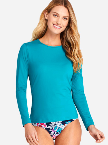 Women's Crew Neck Long Sleeve Rash Guard UPF 50 Sun Protection Modest Swim Tee; Courtesy Lands' End