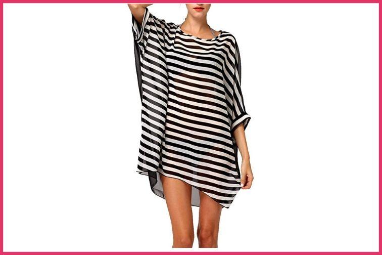 Striped Beach Bikini Cover Up