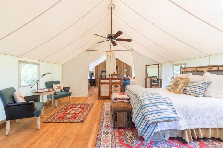 Glamping tent at The Ranch at Rock Creek; Courtesy of The Ranch at Rock Creek