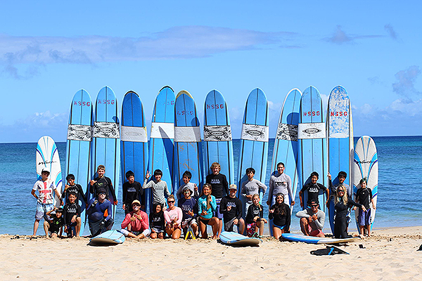 Surf lessons at Camp Erdman in Honolulu.
