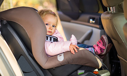 Photo of toddler in car