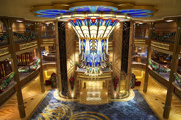 The main lobby onboard Disney Dream.