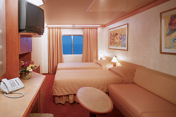 One of the staterooms aboard Carnival Splendor.