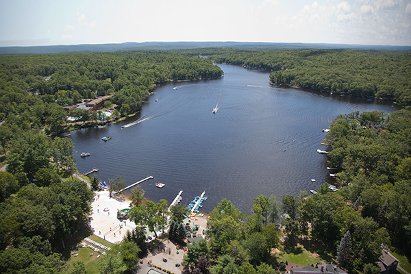 An aerial photo of Woodloch Pines in the Poconos.