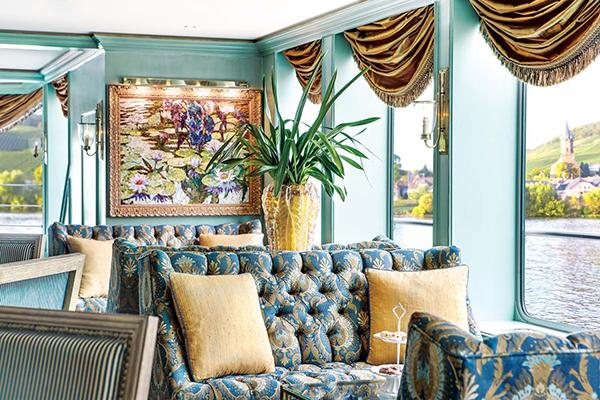 The lounge onboard Uniworld River Empress
