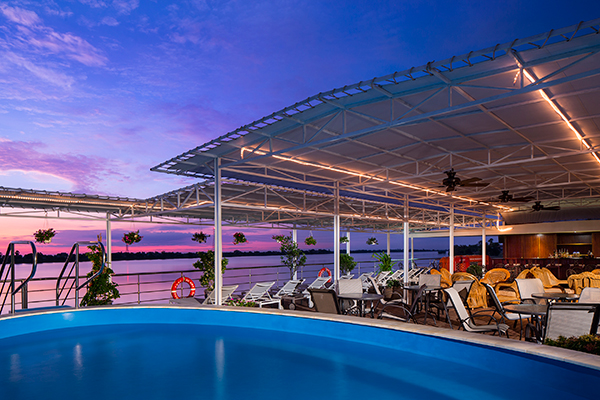The sundeck and pool onboard AmaDara